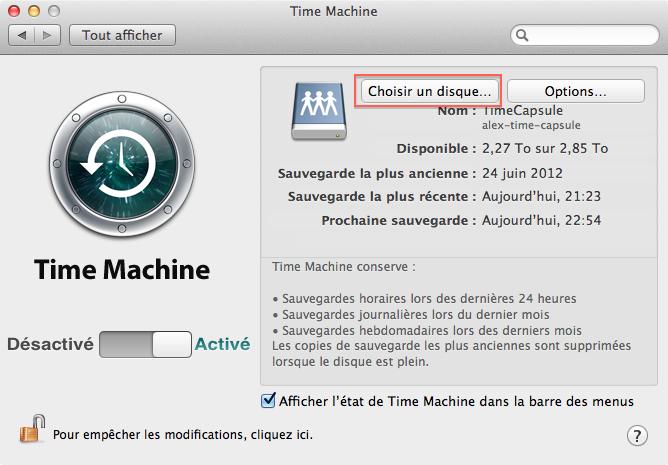 Préférences Time Machine