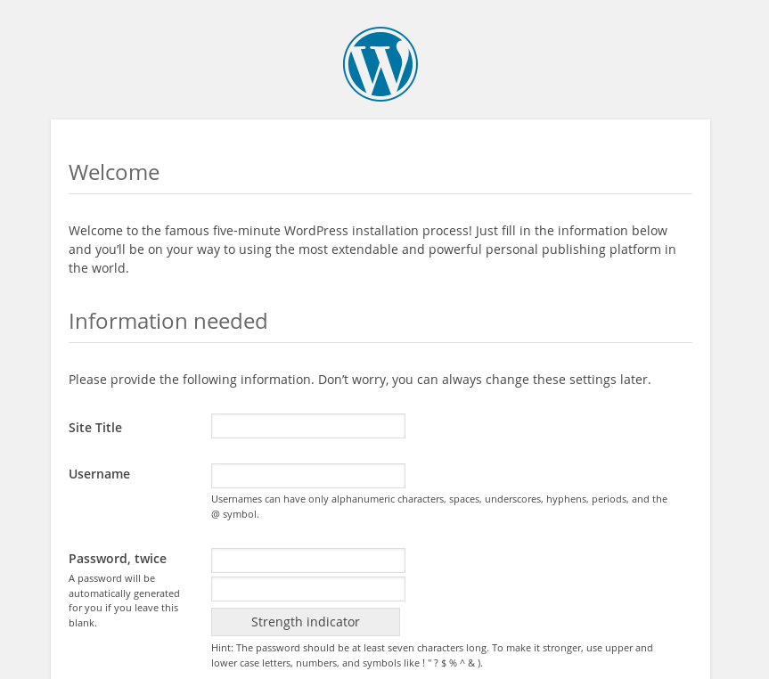 Configure WordPress