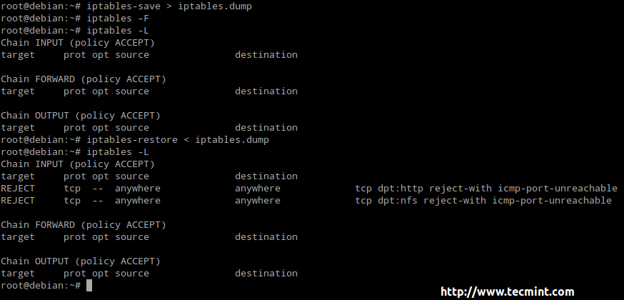 save iptables rules
